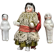 Three, Miniature, Dollhouse Frozen Charlottes