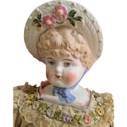 Large Hertwig Bonnet Head Parian Doll