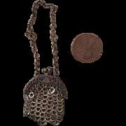 Tiny, Victorian, Metal Doll Purse
