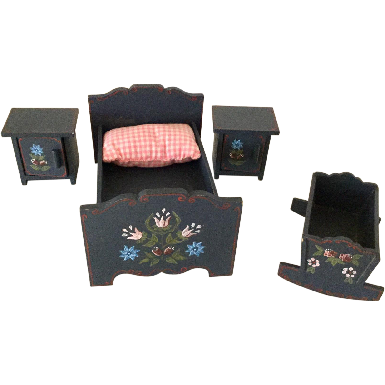 German, Hand Painted, Miniature Bedroom Set