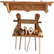 German Toy Wood Shelf and Kitchen Accessories