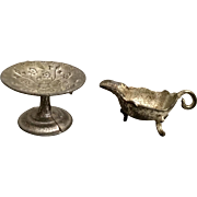 German, Footed Cake Plate and Gravy Bowl