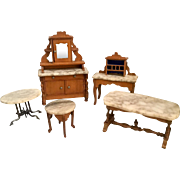 5 Pieces of Early, Schneegas, German Dollhouse Furniture