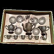 English, Miniature, Metal Tea Set