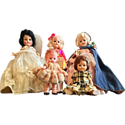 Group of Hard Plastic Dolls