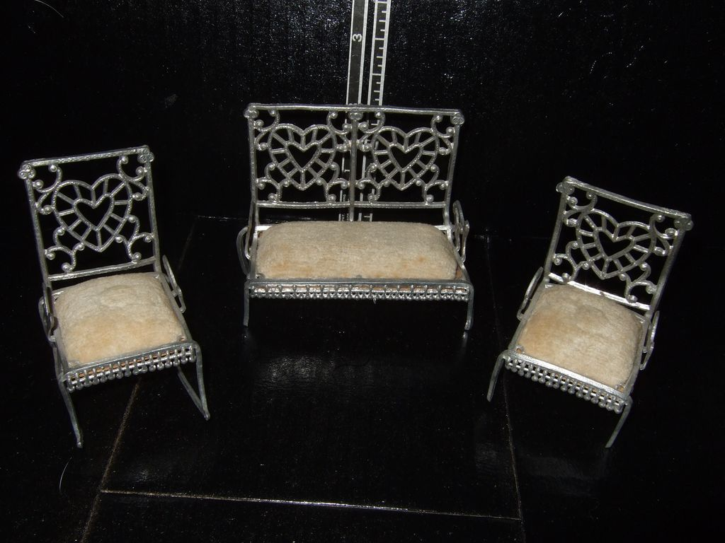Antique Soft Metal Dollhouse Settee and Chairs