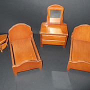 Vintage Miniature Dollhouse Bedroom Furniture