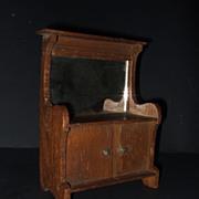 Antique Miniature  Doll Cabinet