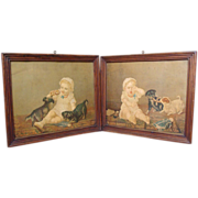 Adorable antique Napoleon III pair of chromolithographie, dogs and baby