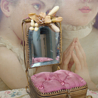 Nice antique  19th french fashion box with mirror.