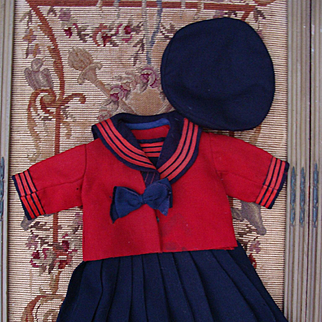 Very nice antique sailor costume with matched beret for antique doll.