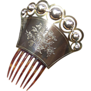 Mid Victorian Hair Comb with Brass Balls Mantilla Style Hair Accessory