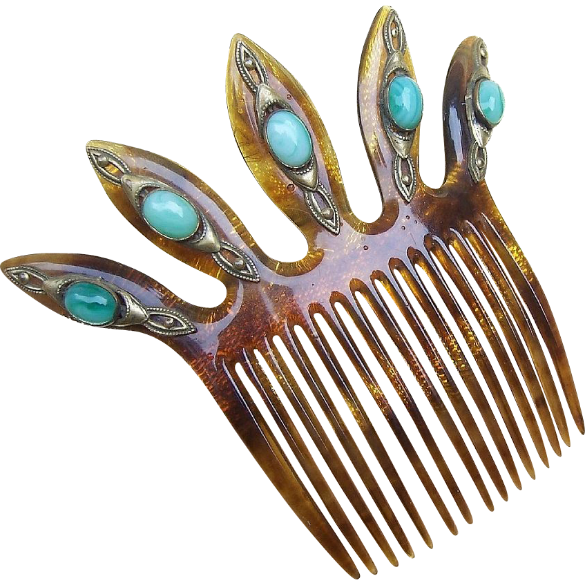 Elaborate Hair Comb With Cabochon Embellishment Hair Accessory