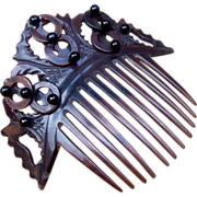 Hair Comb mid Victorian Dyed Horn with Balls and Hoops