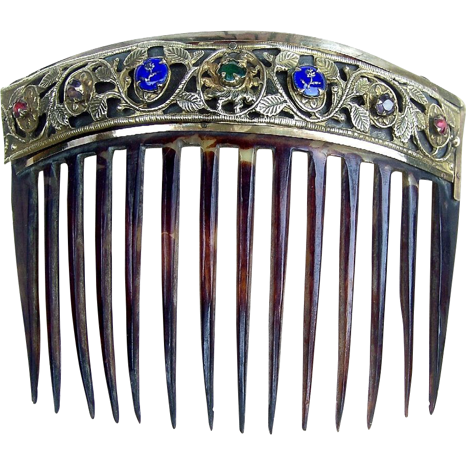 Antique Hair Comb Biedermeier in Tortoiseshell and Pierced Brass with Embellishments.