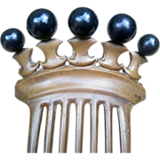 Antique Hair Comb Victorian Vulcanite Mourning Hair Accessory