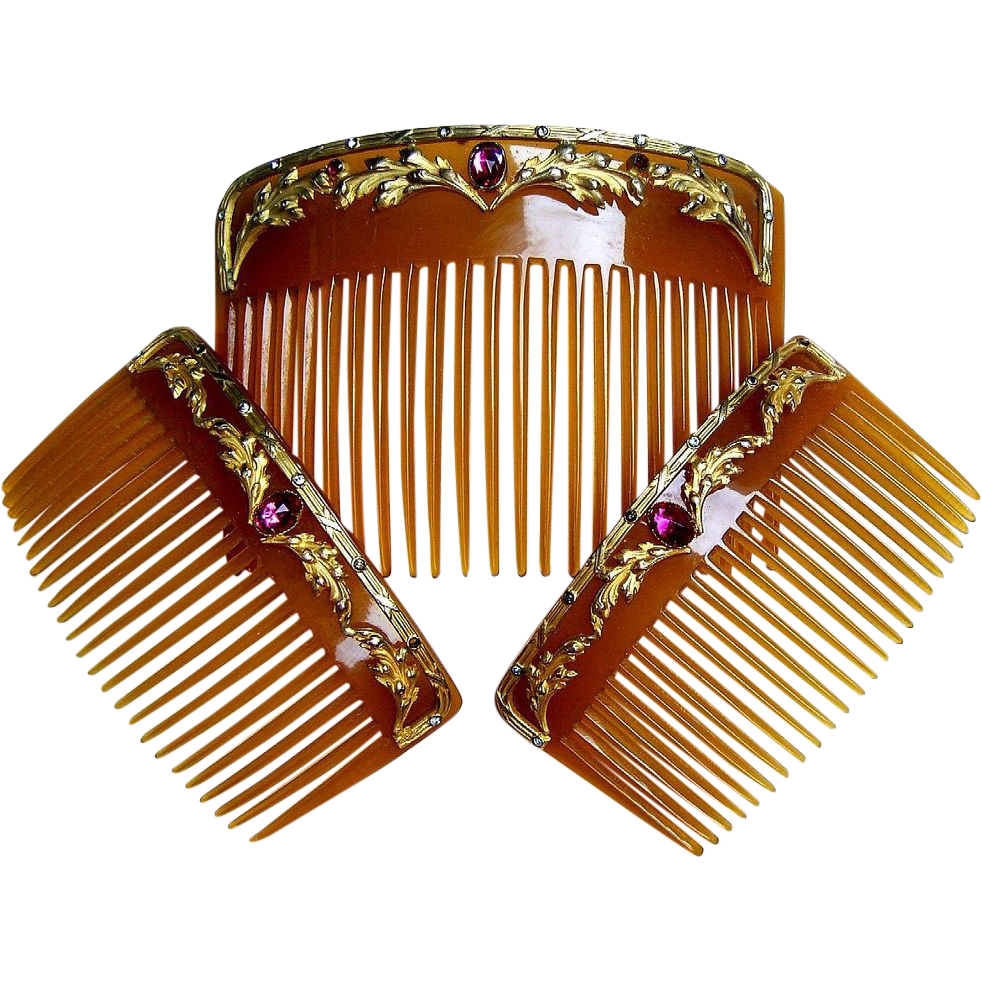 Antique Hair Comb Set Three Victorian Horn Embellished The Spanish Ruby Lane