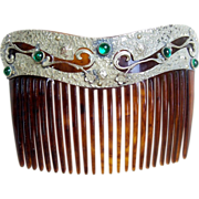 Art Nouveau silver tone metal green cabochon back comb