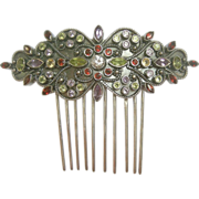 Anglo Indian hair comb silver multi stones hair accessory