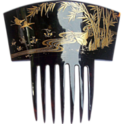 Japanese export hair comb pre ban tortoiseshell gold inlaid hair accessory