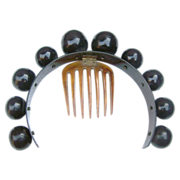 Victorian Hair Comb Hinged Big Balls Faux Tortoiseshell Tiara Hair Accessory
