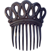 Victorian Mourning Hair Comb Moulded Vulcanite Mantilla Hair Accessory