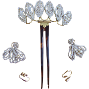 Seed Pearl Hair Comb Matched Set Hair Accessory