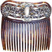 Antique Faux Tortoiseshell Hair Comb with Mother of Pearl Cabochon Hair Accessory