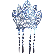 Late Victorian Hair Comb Sterling Silver Finely Pierced Hair Accessory