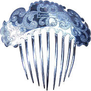 Early Victorian Engraved Silver Plated Hair Comb with Signature Hair Accessory