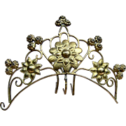 Mid Victorian Hair Comb Cast Brass in the Gothic Style Hair Accessory