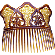 Large Late 19th Century Hair Comb Parti Coloured Hair Accessory