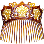 Late Victorian Parti Coloured Celluloid Back Comb Hair Accessory