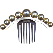 Victorian Hinged Coronet Hair Comb with Brass Balls Hair Accessory - Red Tag Sale Item