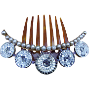 Victorian Hinged Coronet Hair Comb with Crystal Roundels Hair Accessory - Red Tag Sale Item