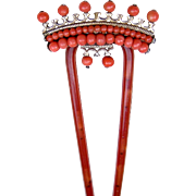 Late Victorian Hair Comb with Coral Beads Hair Accessory