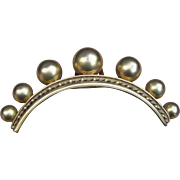Mid Victorian Hinged Hair Comb Gold Tone Metal Balls Hair Accessory