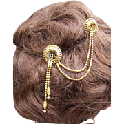 Moorish or Algerian Style Victorian Double Hairpin with Dangles Hair Accessory