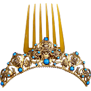 A Victorian Renaissance Revival Hair Comb with Figural Grotesque Heads and Turquoise Hair Accessory