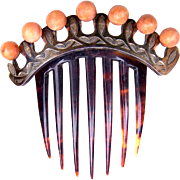 Mid Victorian Hair Comb Classic Hinged Faux Coral Balls Hair Accessory