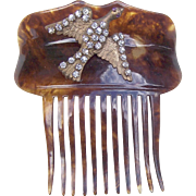 Victorian Faux Tortoiseshell Hair Comb with Figural Rhinestone Bird