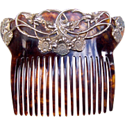 Art Nouveau Hair Comb Faux Tortoiseshell with Interlaced Flowers and Foliage