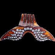 Victorian Hinged Hair Comb Faux Tortoiseshell Rhinestone Wings