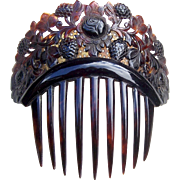 Victorian Hair Comb Carved and Pierced Spanish Style Faux Tortoiseshell Hair Accessory