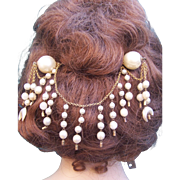 Moorish or Algerian Style Double Hairpin Faux Pearl Hair Comb Hair Accessory