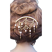 Hair Comb in Algerian or Moorish Style with Dangling Pearl Pendants Hair Accessory