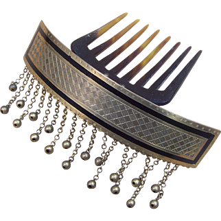 Victorian Moorish style hair comb hinged gilded brass hair accessory