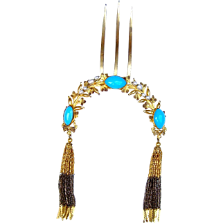 Victorian Moorish style hair comb blue cabochons hair accessory