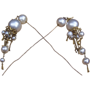 Victorian Moorish style hair pins matched pair faux pearl dangles hair accessory