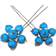 Victorian blue blown glass hair pins or hair combs floral design hair accessory